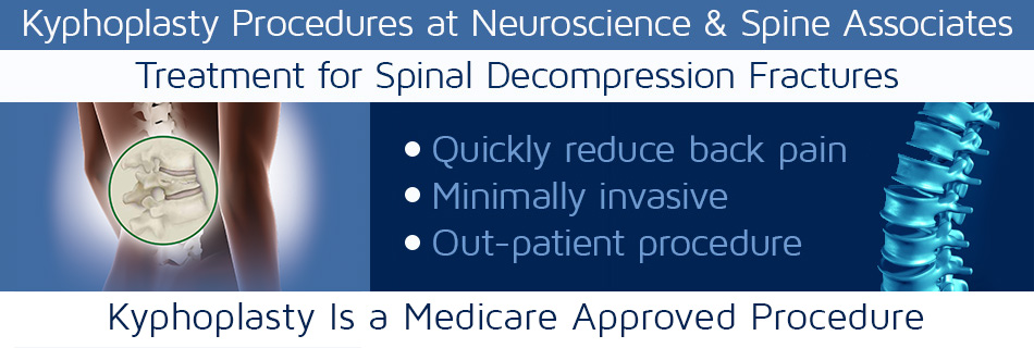 Text Graphic that says Kyphoplasty Procedure at Neuroscience and Spine Associates | Neuroscience and Spine Associates